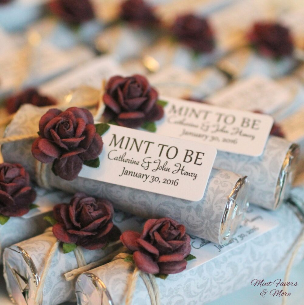 """100 Plum Wedding Favors, Custom Mint To Be Favors With Personalized Tag - Wedding, Silver Favors"""""""