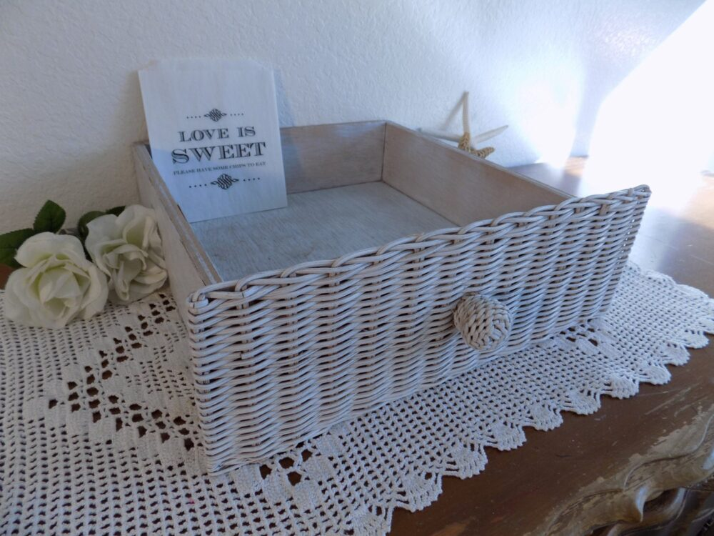 White Shabby Chic Wedding Reception Favor Bag Display Up Cycled Vintage Wicker Wood Vanity Drawer Rustic Distressed Candy Bar Decoration