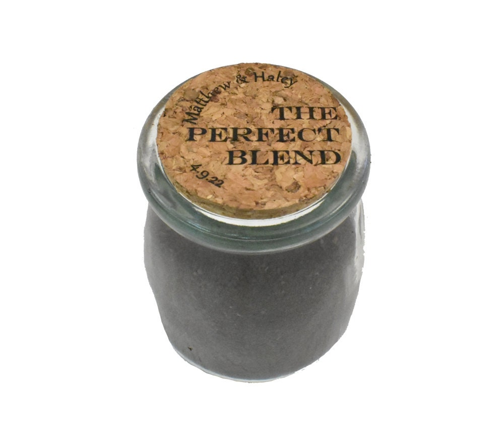 Wedding Coffee Favors For Guests in Bulk - Favor Coffee - Custom Mini Glass Jars With Cork Lids - The Perfect Blend