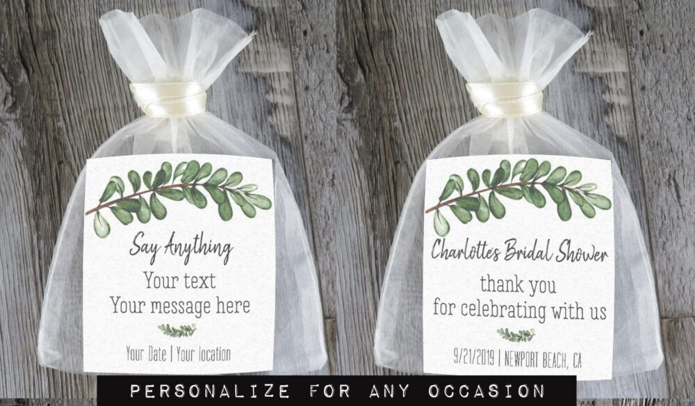 Tea Favors 10 Personalized & Fully Assembled | Any Occasion Wedding Favor Party Bridal Shower Botanical Greenery - Tf Sg