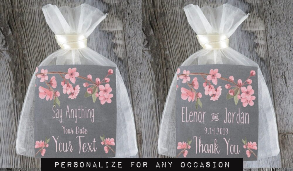 Tea Favors Personalized & Fully Assembled | Any Occasion Wedding Favor Party Bridal Shower Chalk Cherry Blossom - Tf Chb