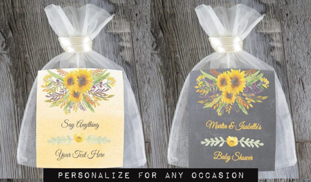 Tea Favors 10 Personalized & Fully Assembled | Any Occasion Wedding Favor Party Bridal Shower Yellow Sunflower - Tf Ycf