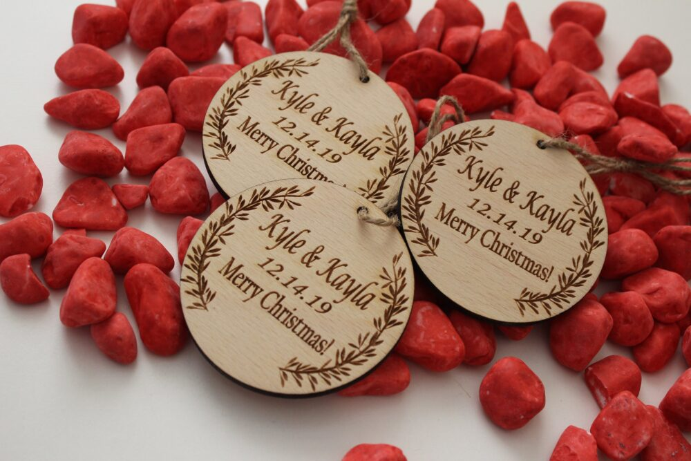 Wedding Ornaments, Favors, Map & Round Personalized Wooden Wedding Favor Ornament, Custom Made Favors