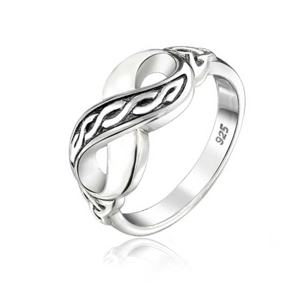 Bff Irish Love Knot Celtic Infinity Band Ring For Girlfriend Teen Oxidized 925 Sterling Silver