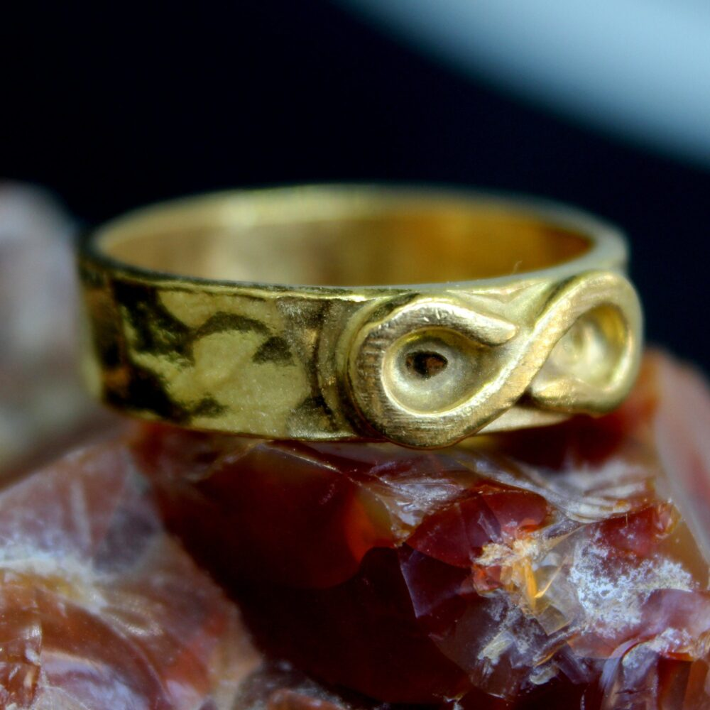 Brushed 4 Mm İnfinity Band Ring 24K Gold Over 925 K Sterling Silver Handmade Designer Jewelry Ancient Design Jewelry