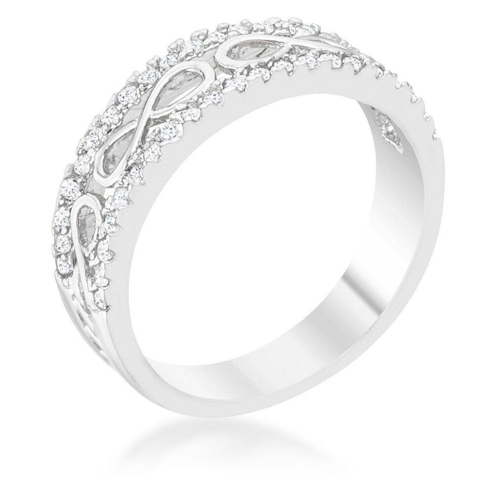 Silver Infinity Band Ring, Diamond Contemporary Band, Elegant Open Chic