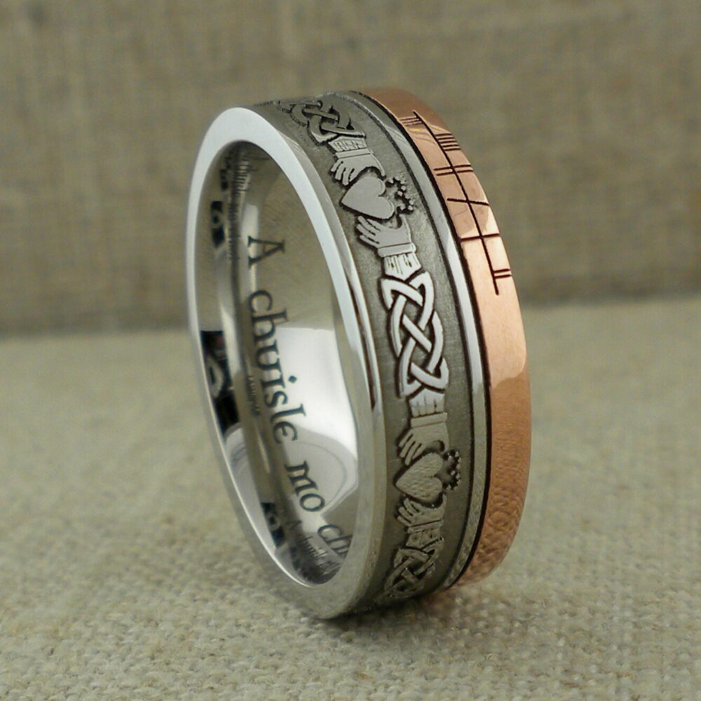 Celtic Claddagh Wedding Ring With Customized Ogham Script Rail in Cobalt Chrome 2.5 Mm Rose Gold Inlay Personalized Band