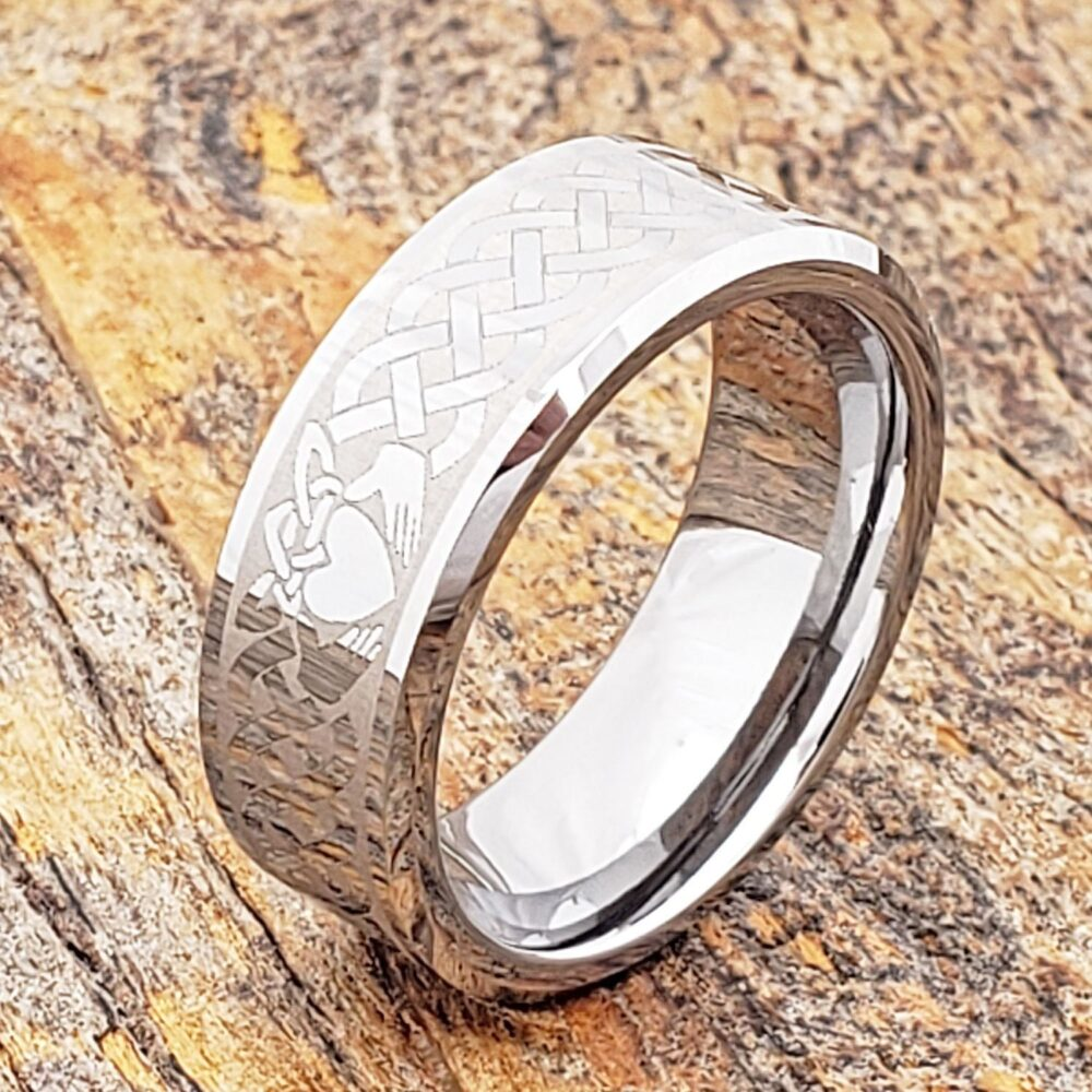 Claddagh Ring, Celtic Friendship Heart Anniversary Tungsten Wedding Band, Knot Ring