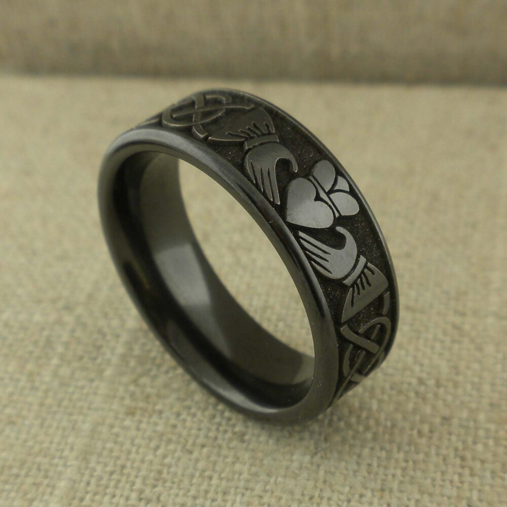 Size 7 Or 9.5 Celtic Claddagh Wedding Ring in Black Zirconium 8 Mm Wide Knot & Band Geti