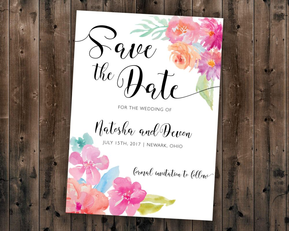 Floral Watercolor Save The Date Printed - Wedding Date, Affordable, Vintage, Floral, Country, Watercolor, Flowers, Cheap, Summer
