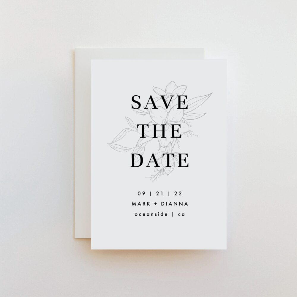 Muted Floral Small Save The Date Announcement, Set Of 12 | Need A Different Quantity? Contact Shop