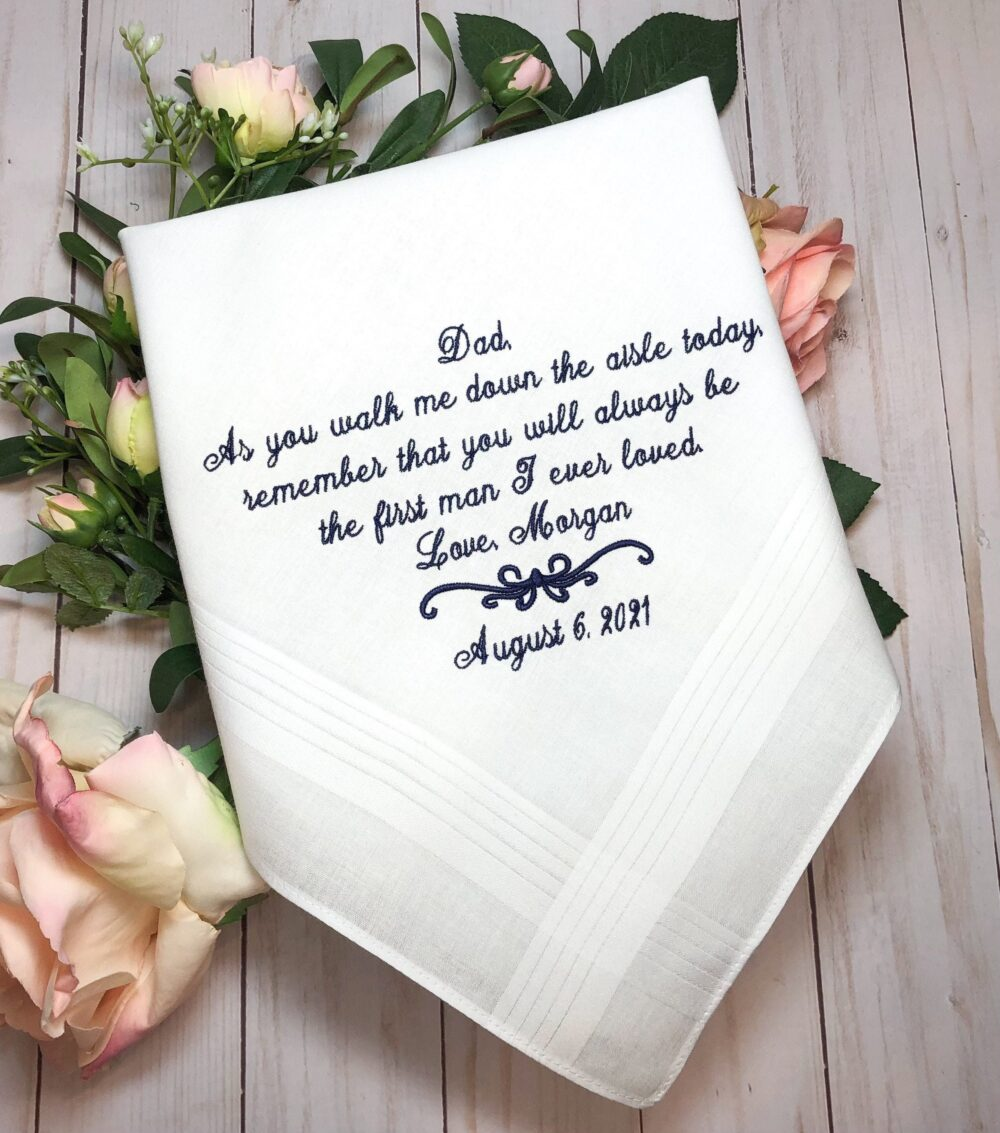 Men's Handkerchief, Dad Wedding Father Of The Bride Gift, Embroidered Fob24