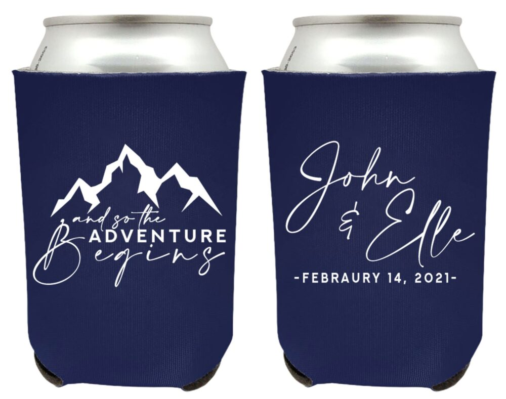 Let The Adventure Begin Wedding Can Coolers, Cooler Favors, Custom Coolers For Weddings, Personalized Coolies | 300