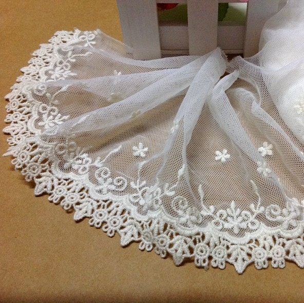 10 Yards/Lot Width 13cm 5.12 White/Beige Cotton Mesh Embroidery Lace Trim Ribbon Fabric For Dress Clothes L4K53 1022470