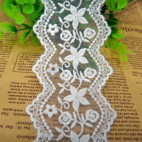 10 Yards/Lot Width 6.5cm 2.55 White Mesh Embroidery Lace Trim Ribbon Fabric For Dress Skirt Clothes L4K713 1049961