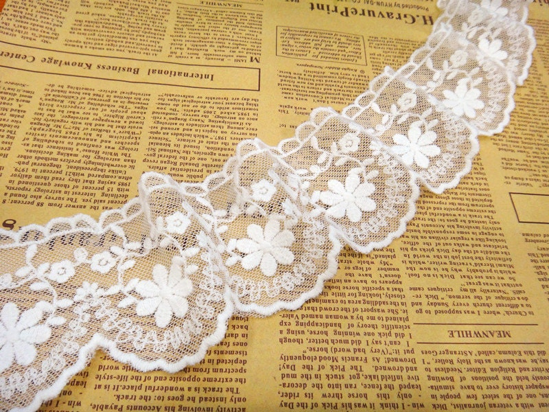 10 Yards/Lot Width 6.5cm 2.55 White Mesh Embroidery Lace Trim Ribbon Fabric For Dress Skirt Clothes L4K710