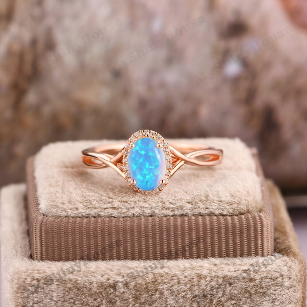 Ice Blue Opal Wedding Ring/ Cross Band Oval Cut 6x8mm Engagement 14K Rose Gold Bridal Unique Gift For Her