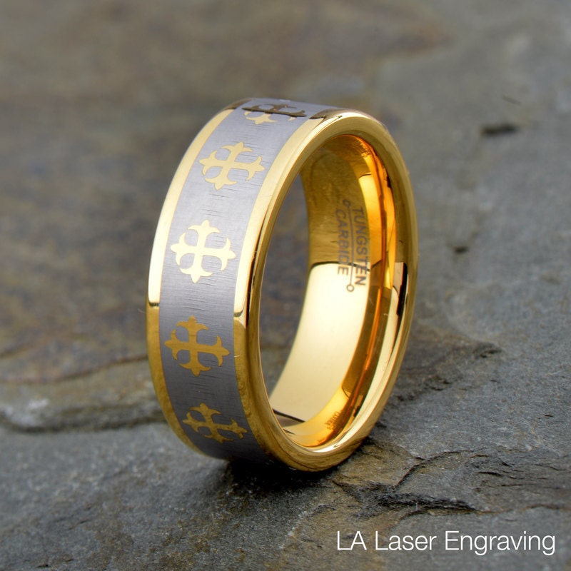 Tungsten Wedding Ring, Mens Band, Cross All Around The Ring, Matt Polished Edge, 8mm, Anniversary Yellow Gold Plated Ring