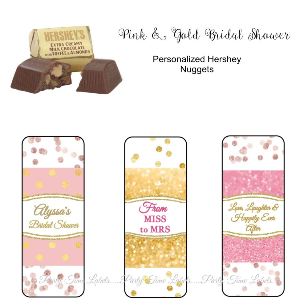 Pink & Gold Bridal Shower Wedding Anniversary Favors Hershey Nugget Stickers - 30 Ct Printed Labels