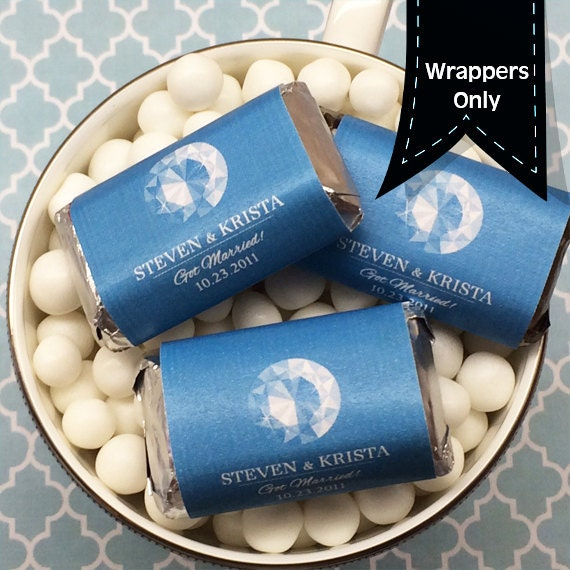 Miniatures Hershey Wedding Chocolate Wrappers - Decor, Mini Wrappers, Miniature Bridal Shower