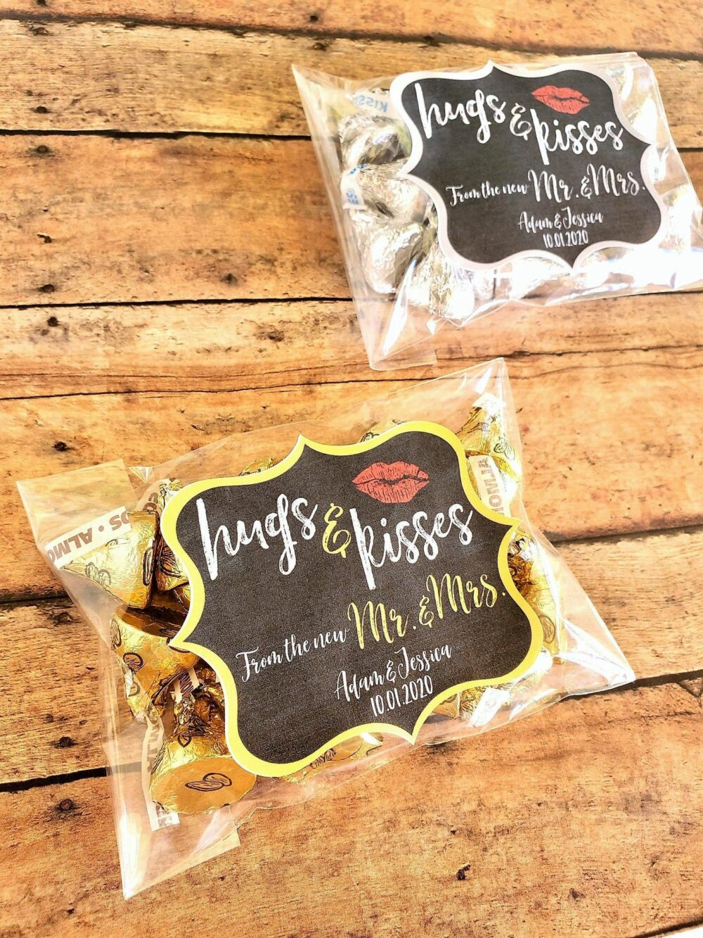 Hugs & Kisses From The Mr Mrs Wedding Favors, Hershey Kisses Favors Tags, Bags