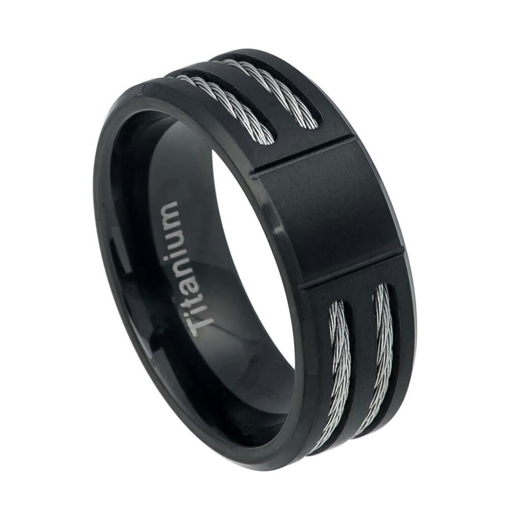Custom Engraved Personalized Ring, 8mm Titanium Band Grooved Center Black Ip Ring Double Rope Inlay(Jdti553