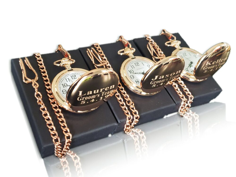 3 Personalized Pocket Watches - Bride & Groom Gift Usher & Groomsmen Wedding Set Best Man Of Honor Personalized
