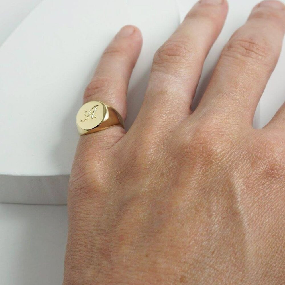 Gold Signet Ring For Men & Women Engraved With Initial Letters, Custom Gold Plated Pinky Ring, Personalized Initials Mom & Dad