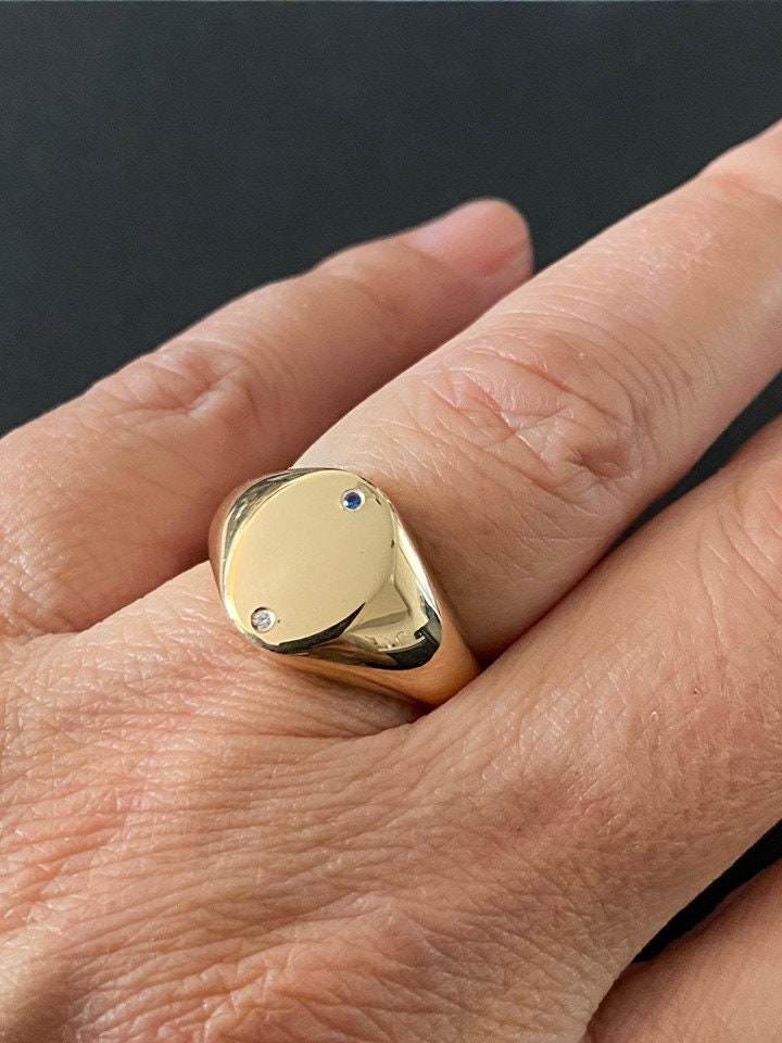 Oval Seal Gold Ring, Engrave Personalized Signet Special Gift For Women/Men, Pinky Ring, Cz Zircon, Customized Jewelry