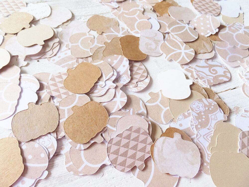 200 Ct. Fall Pumpkin Table Scatter/Confetti ~ 1 Neutral Colors & Patterned Card Stock Wedding, Baby Shower, Birthday, Thanksgiving