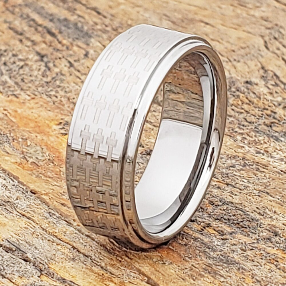Cross Ring, Mens Wedding Band, Tungsten Religious Gift, Anniversary Ring For Men, Purity Personalized Promise