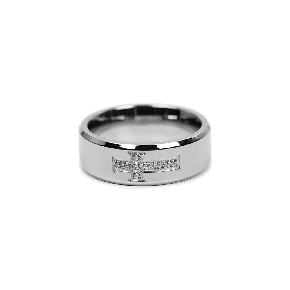 Cross Cz Ring in Silver - Men's Band Stainless Steel Jewelry Rings For Men By Modern Out