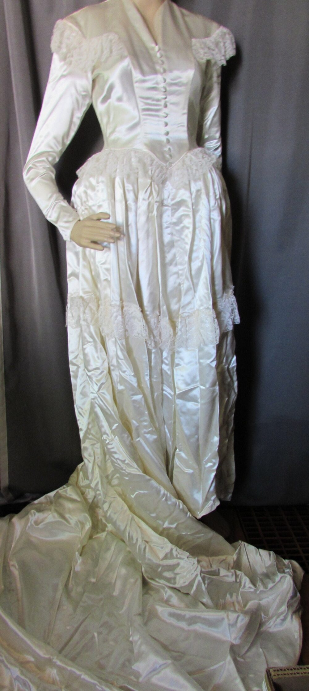 Wedding Gown Ivory Tone Satin & Lace 1940 1950 Style Long Train Corset Buttons Milady Bridal Shoppe Pannier Hoop Vintage Fashions