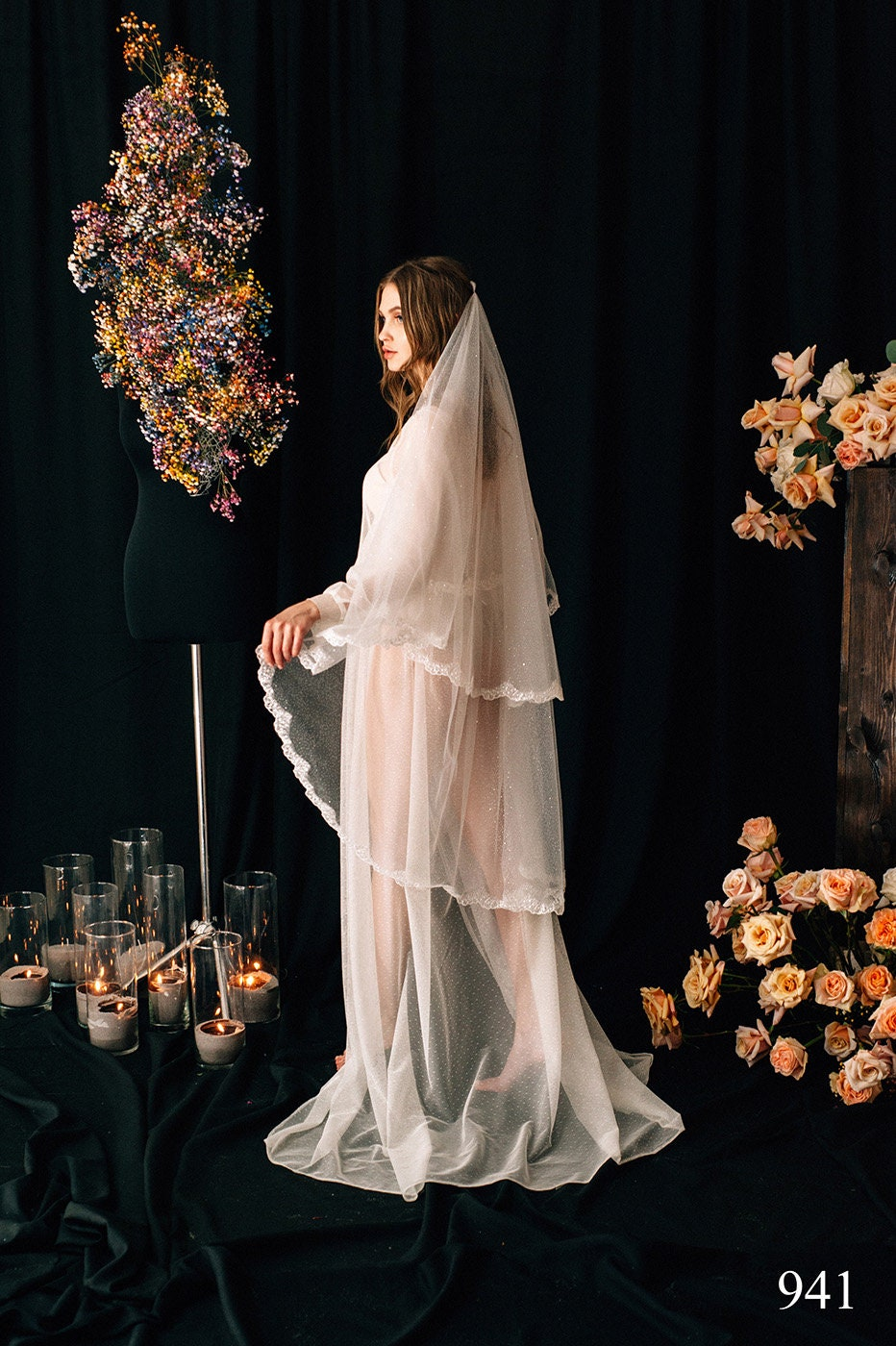 Wedding Veil Remi, Bridal Veil, Chapel Cathedral Veil , Tulle Cathedral Length, With Comb, One Tier