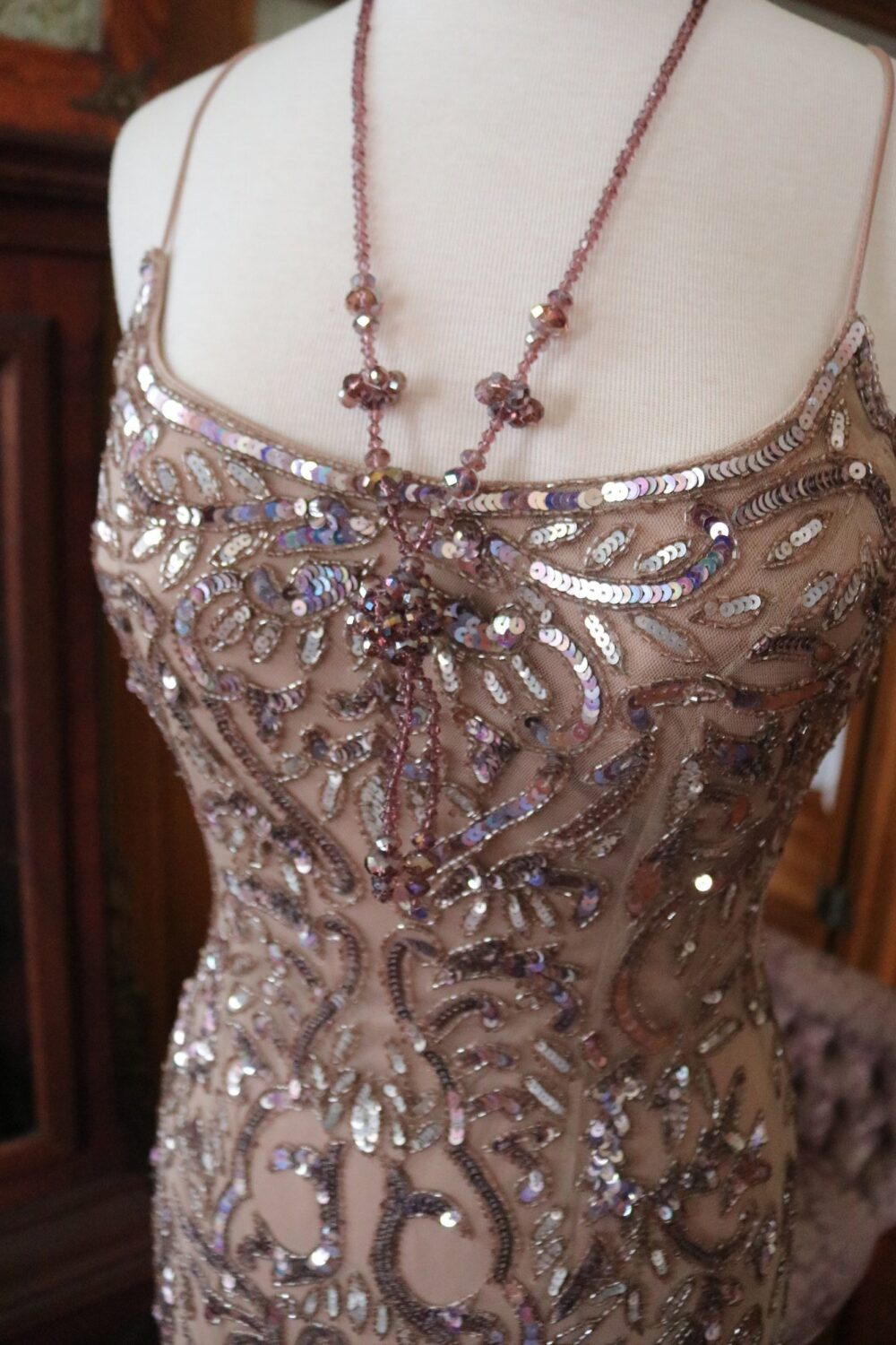 Pink Lavender Beaded Wedding Gown Flapper Fairy