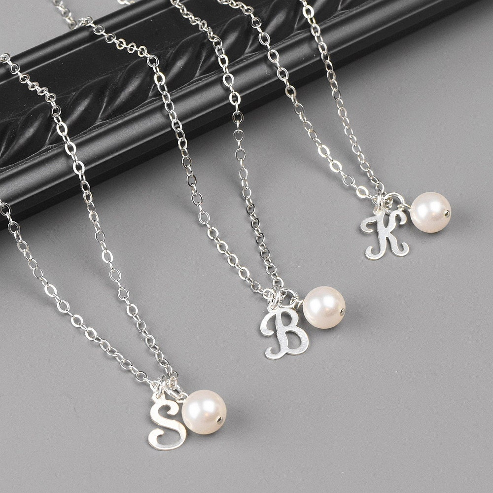 Bridesmaid Gifts Necklace Set Of 8 Personalized Jewelry Pearl Initial Necklaces Sterling Silver Wedding Party