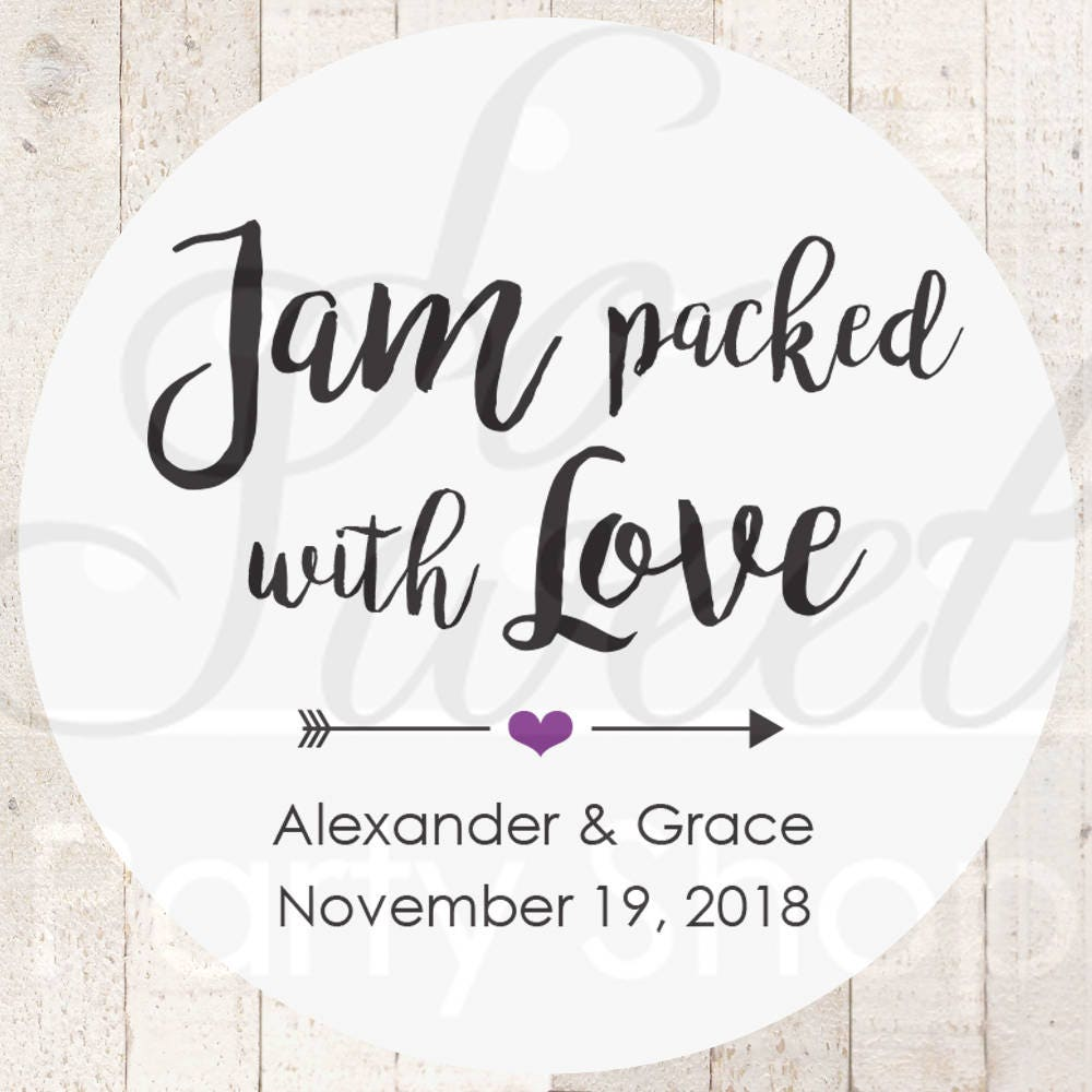 Jam Wedding Favor Stickers, Packed With Love Spread The Favors, Stickers - Set Of 24