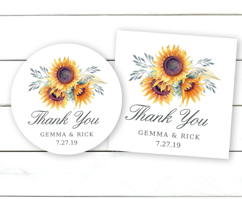 Wedding Favor Stickers, Sunflower Personalized Thank You Labels, Rustic Stickers