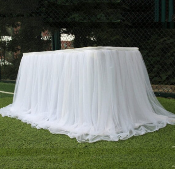 Tulle Tutu Table Skirt Wedding Tablecloth Birthday Baby Shower Party Skirting Cloth For Rectangle & Round 39x30 Inch, 6Ft