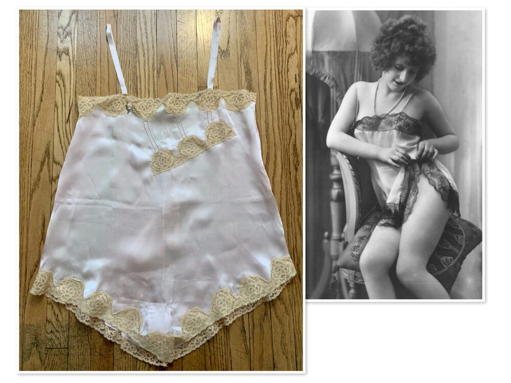 Vintage Women's 20's 30's Flapper Era Satin Chemise Step-In Teddy With Alencon Lace Bust 36 Inches