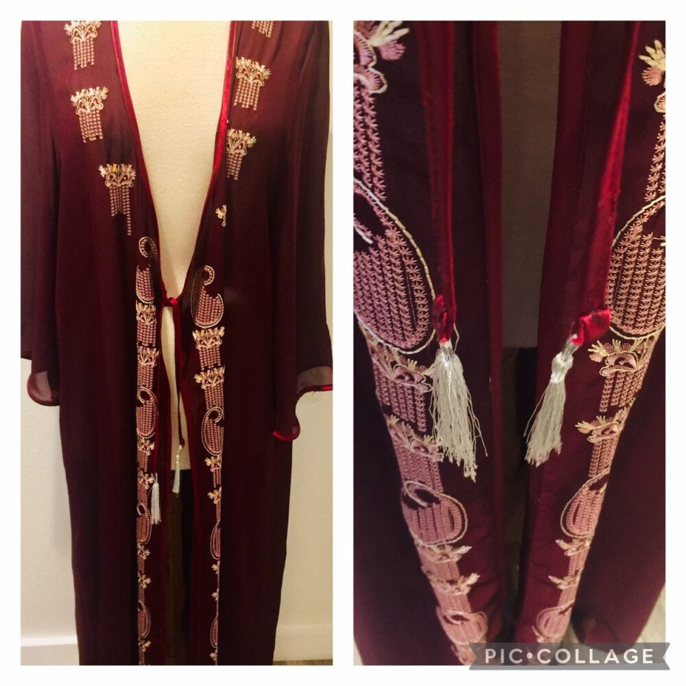 Spectacular Asian Themed Semi Sheer Burnt Cranberry Hand Embroidered Peignoir Robe/Lounging Women's Xl