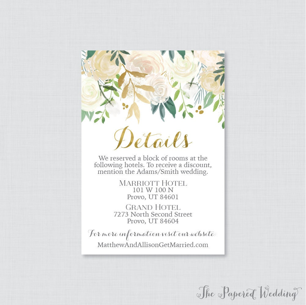 Printable Or Printed Wedding Details Cards - Gold Floral Inserts Gold, White, & Cream Flower Detail Invitation Insert 0013