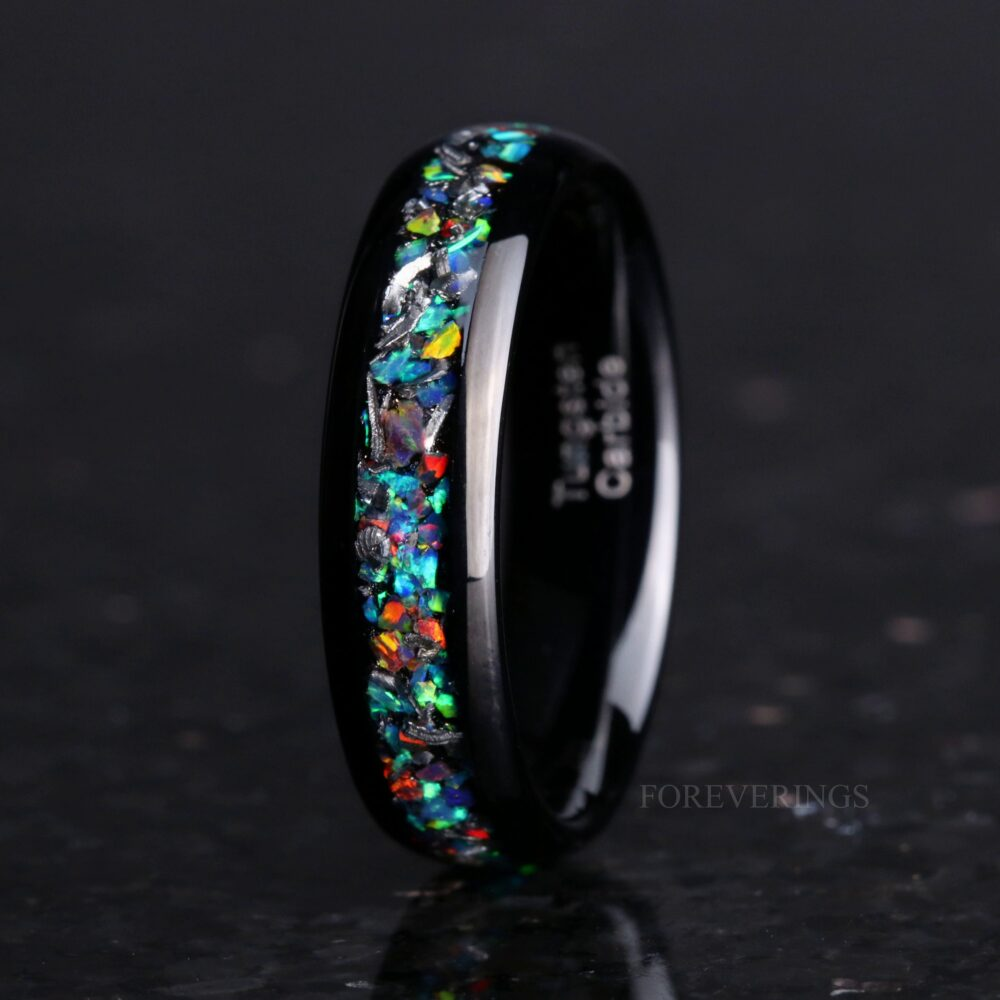 Meteorite & Galaxy Opal Wedding Band, 6mm Black Tungsten Ring, Polished, Dome, Matte Brushed, Comfort Fit, Gift For Him, Unique Ring