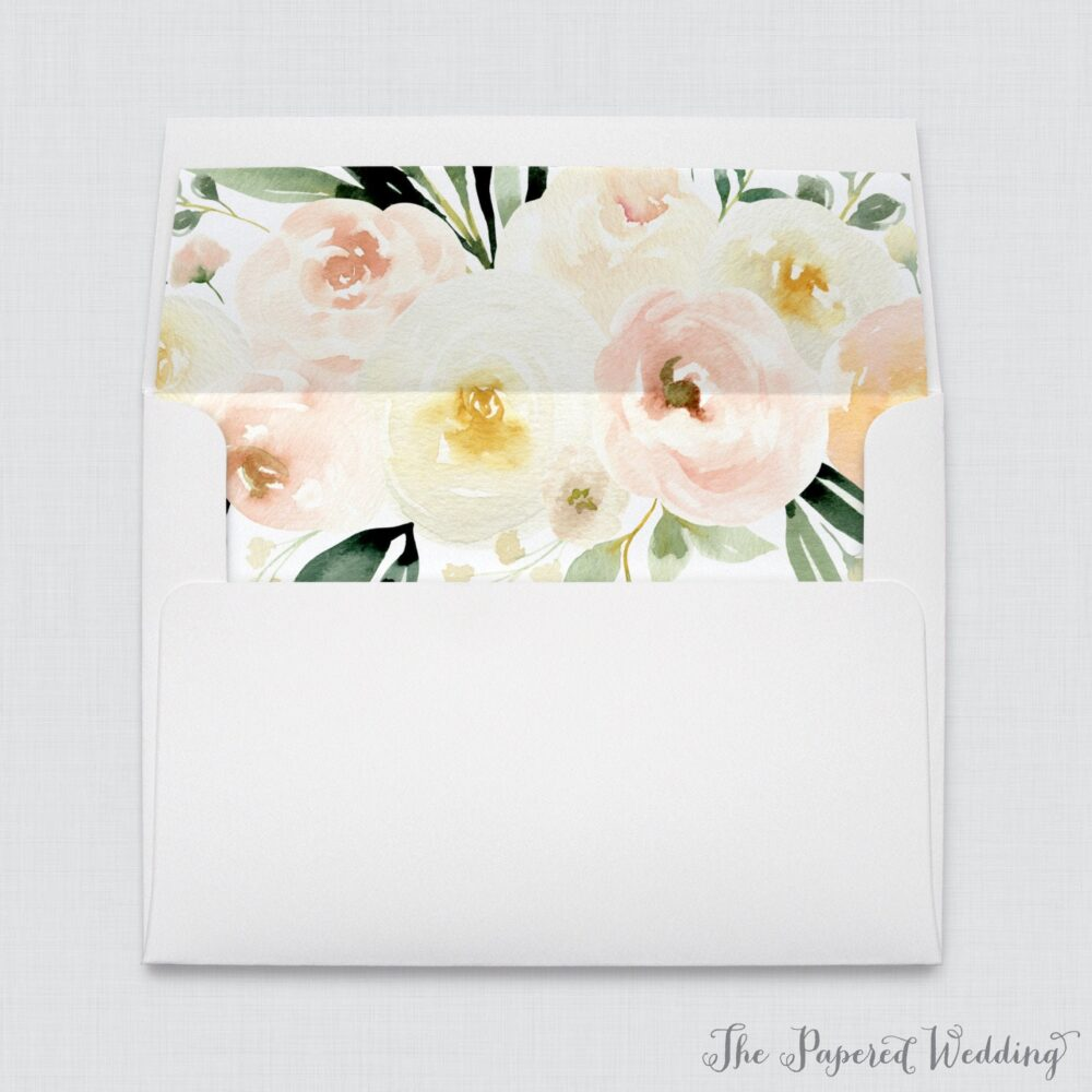 Wedding Envelopes With Ivory & Blush Pink Liners - White A7 & Cream Floral Envelope Liners, Flower Liner 0027