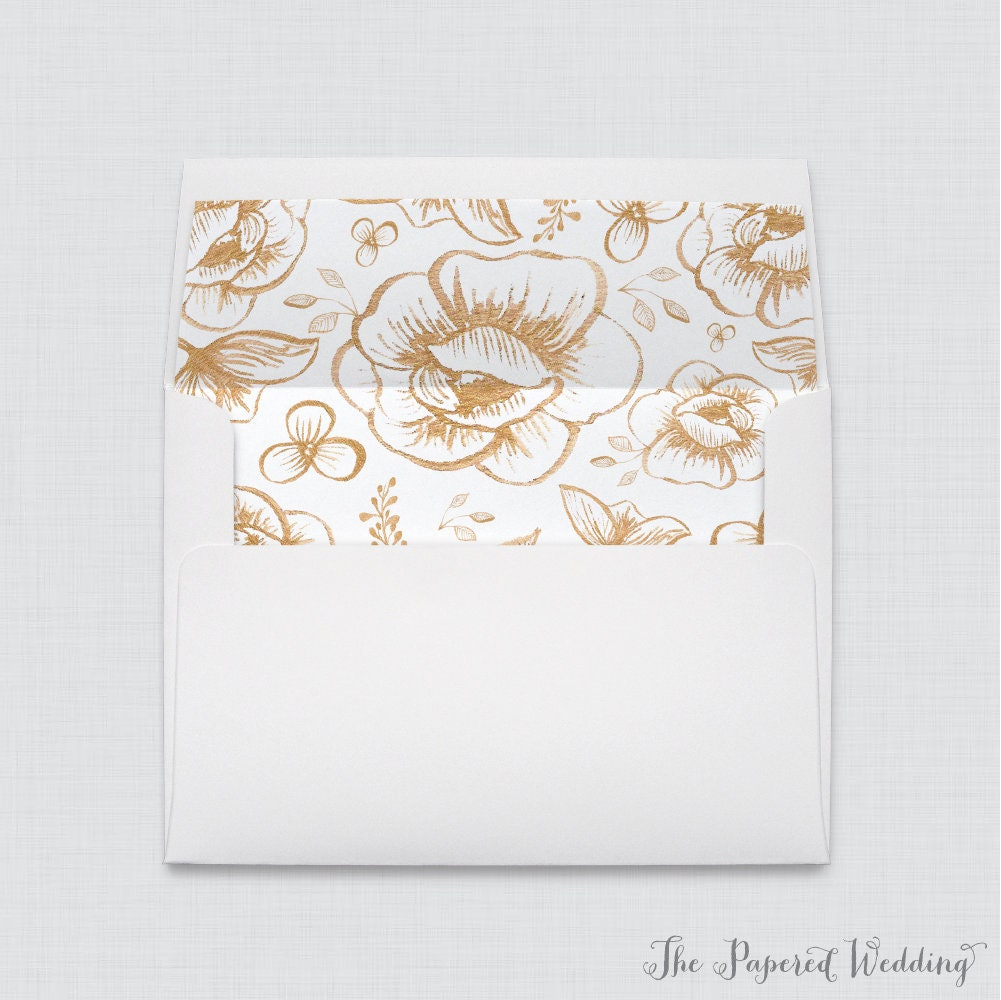 Wedding Envelopes With Liners - White A7 Gold Floral Envelope Liners, & Flower 0018
