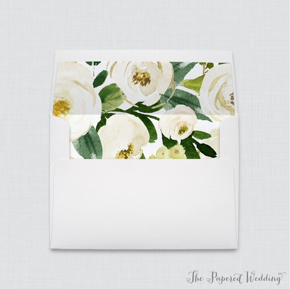 White Flower Wedding Envelope With Liners - A7 Envelopes Green Leaves & Flowers Liners, 0020