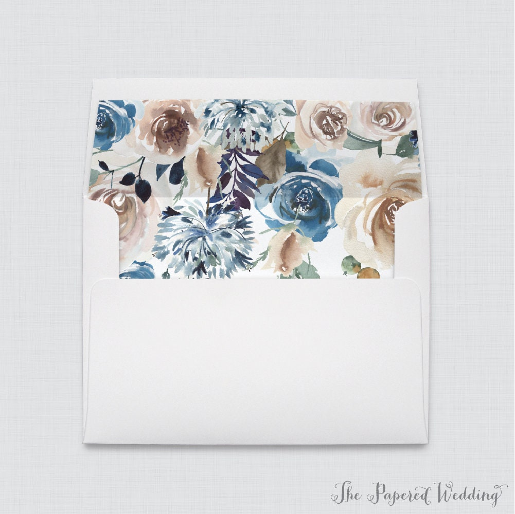 Blue & Brown Wedding Envelope Liners - White A7 Envelopes With Rustic Floral Liners, Flower 0021