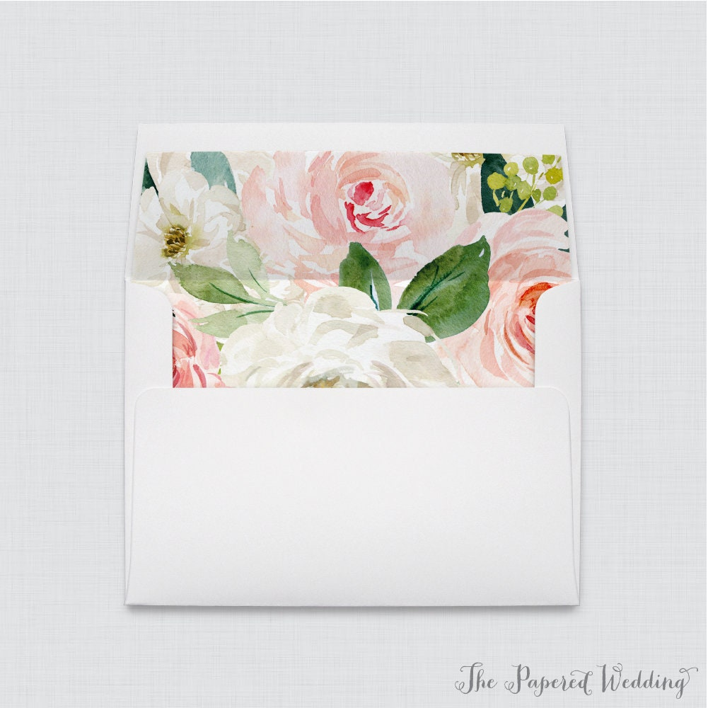 Wedding Envelopes With Liners - White A7 Pink Floral Envelope Liners, & Roses Flower 0017