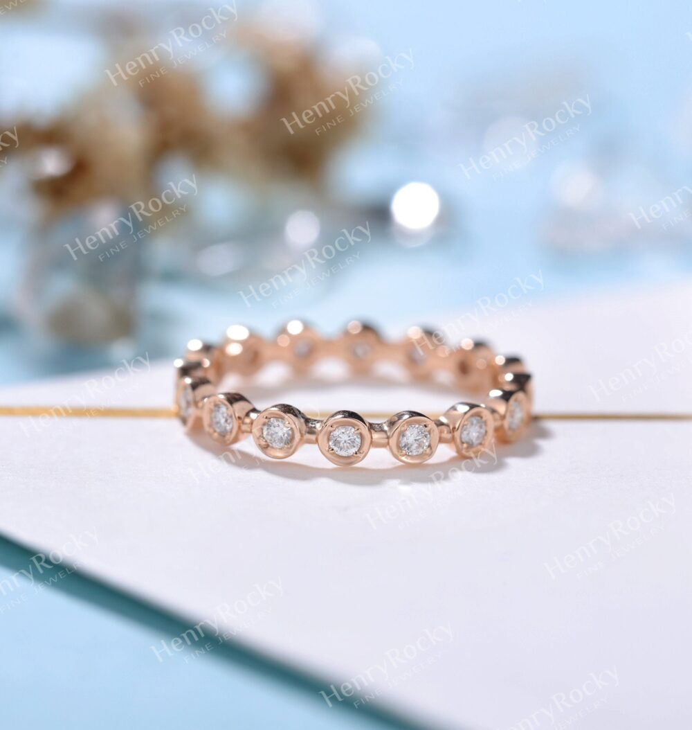 Moissanite Wedding Band Women   Rose Gold Band Unique Bridal Ring Eternity Matching Wedding Promise Anniversary Gift For Her