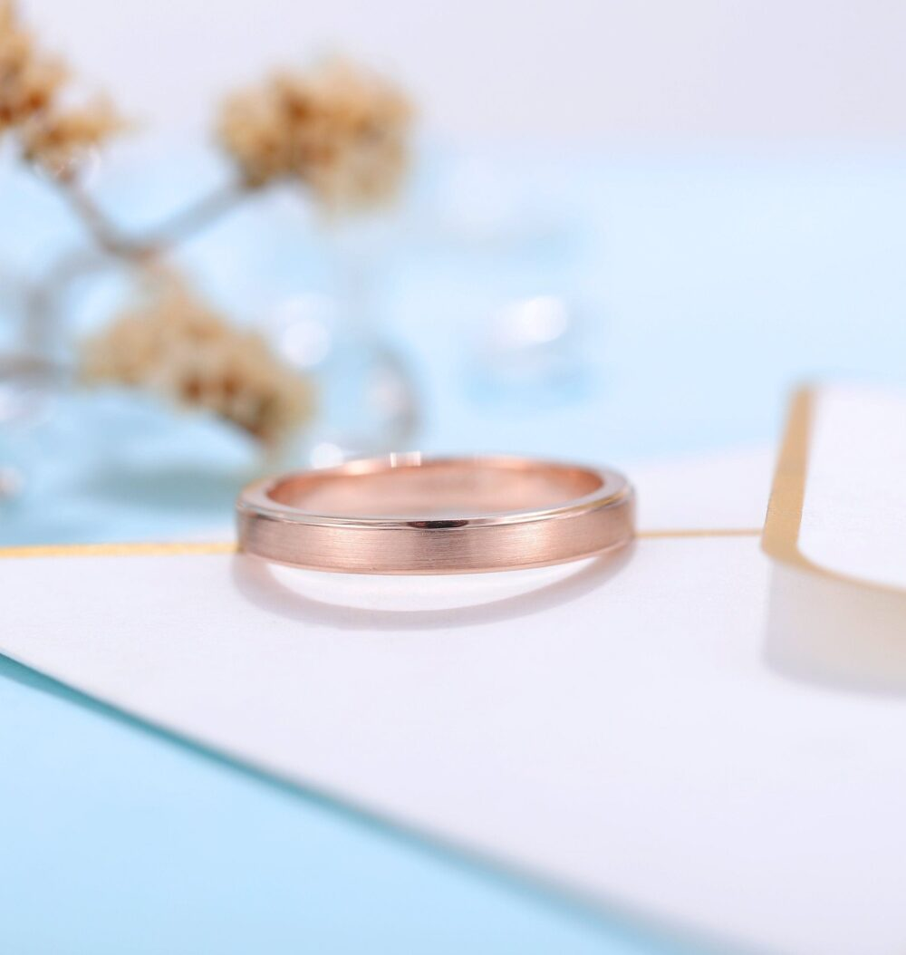 Art Deco Wedding Band Women | Rose Gold Band Frosted Bridal Jewelry Unique Wedding Ring Vintage Promise Ring Anniversary Gift For Her